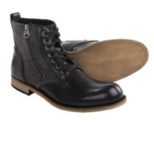Andrew Marc Forest Boots - Leather and Canvas (For Men) in Black/Deep Natural - Closeouts