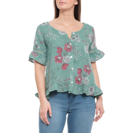 b2ddc850a8 Angela Pacini Made in Italy Green Flower Sleeve Detail Linen Shirt - V-Neck