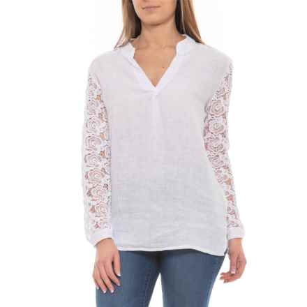 Angela Pacini Made in Italy White V-Neck Linen Shirt - Long Sleeve (For Women) in White - Closeouts