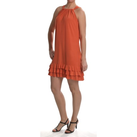 Anna Lee and Hope by Tiana B Tiered Ruffle Hem Dress - Stretch Jersey, Sleeveless (For Women) in Coral