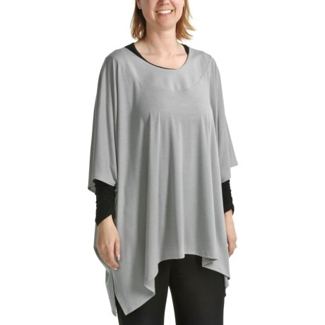 Annalee and Hope by Tiana B Jersey Oversized Tunic Shirt - Elbow Sleeves (For Women) in Grey