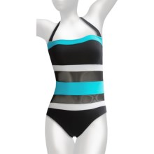 Anne Cole Halter Swimsuit (For Women) in Turquoise/Black/White Stripe - Closeouts