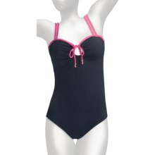 Anne Cole Keyhole Double-Strap Swimsuit - 1-Piece (For Women) in Navy W/Pink String - Closeouts