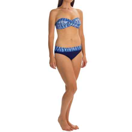 Anne Cole Twist Front Bandeau Bikini Set - Fold-Over Bottoms (For Women) in Blue Multi - Closeouts