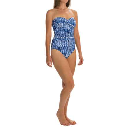 Anne Cole Twist Front Bandeau One-Piece Swimsuit (For Women) in Blue Multi - Closeouts