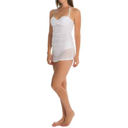 Anne Cole Twist-Front Crochet Tankini Set (For Women) in White - Closeouts