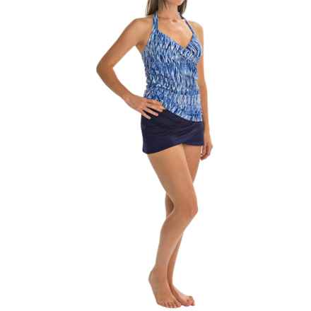 Anne Cole Twist Front Halter Tankini Set - Sarong Bottoms, Underwire (For Women) in Blue Multi - Closeouts