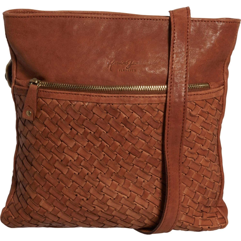 Anonimo Fioino Made In Italy Double Zip Tonal Woven Crossbody Bag For Women