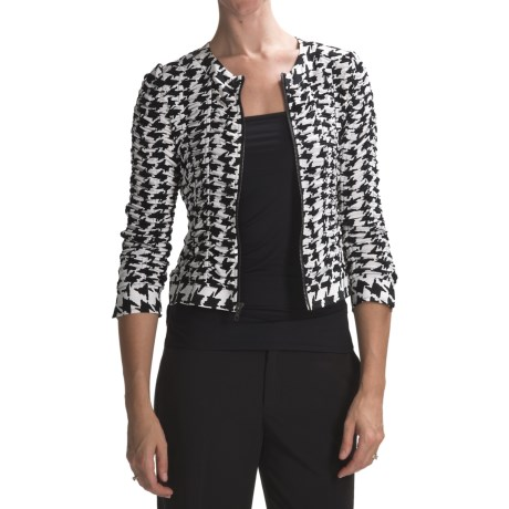 Anthracite Ruched Houndstooth Jacket (For Women) in Black/Ivory