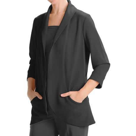 Anthracite Shawl Collar Cocoon Jacket (For Women) in Red