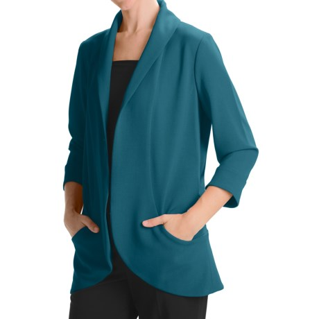 Anthracite Shawl Collar Cocoon Jacket (For Women) in Black