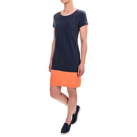 Antibes Blanc Cotton Slub Jersey Shirt Dress - Short Sleeve (For Women) in Navy/Coral Combo - Closeouts