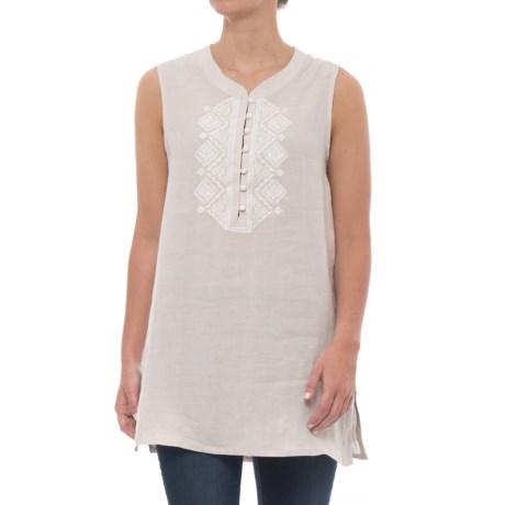 Antibes Blanc Crossdye Linen Tunic Shirt - Sleeveless (For Women) in Light Tan