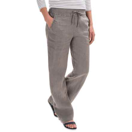 Antibes Blanc Drawstring-Waist Linen Pants (For Women) in Washed Grey - Closeouts