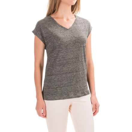 Antibes Blanc Heathered V-Neck Knit Shirt - Linen, Short Sleeve (For Women) in Gravel Heather - Closeouts