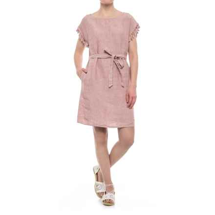 Antibes Blanc Linen Tassel Dress - Short Sleeve (For Women) in Mauve Mayhem/White - Closeouts
