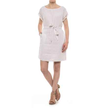 Antibes Blanc Linen Tassel Dress - Short Sleeve (For Women) in Old Lace/Ivory/White - Closeouts