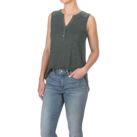 Antibes Blanc Mandarin Collar Henley Shirt - Sleeveless (For Women) in Pine Needle - Closeouts