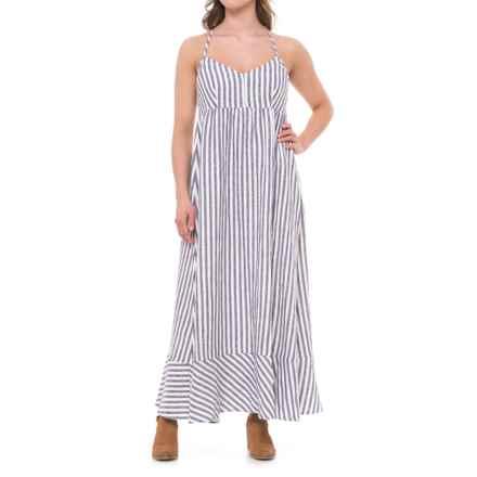 Antibes Blanc Seersucker Stripe Linen Maxi Dress - Sleeveless (For Women) in Blue/White - Closeouts
