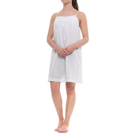 Antibes Blanc Smocked Chemise Nightgown - Spaghetti Straps (For Women) in White/Mint Swiss Dot