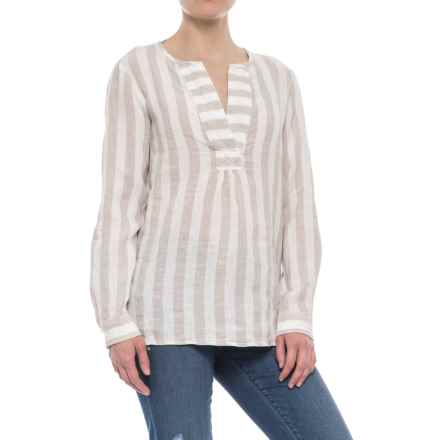 Antibes Blanc Striped A-Line Popover Shirt - Linen, Long Sleeve (For Women