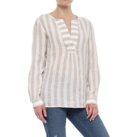 Antibes Blanc Striped A-Line Popover Shirt -  Linen, Long Sleeve (For Women) in Nomad Stripe