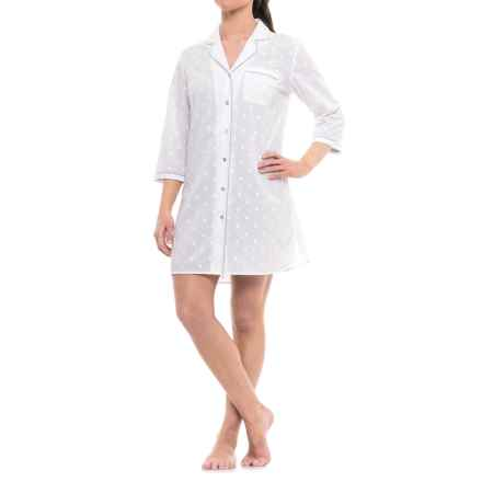 Antibes Blanc Woven Embroidered Nightshirt - 3/4 Sleeve (For Women) in White - Closeouts