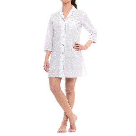 Antibes Blanc Woven Embroidered Nightshirt - 3/4 Sleeve (For Women) in White