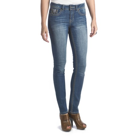 Antique Rivet Marlena Skinny Jeans - Mid Rise, Stretch (For Women) in Serenade