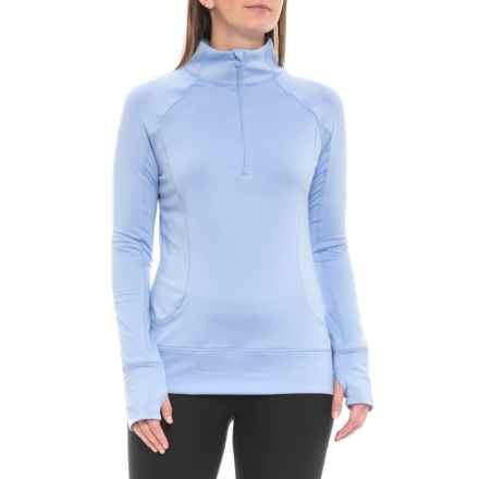 Apana Asymmetrical Shirt - Zip Neck, Long Sleeve (For Women) in Uv Blue