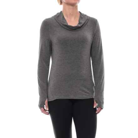 Apana Cowl Neck Hooded Shirt - Long Sleeve (For Women) in Charcoal Stripe - Closeouts