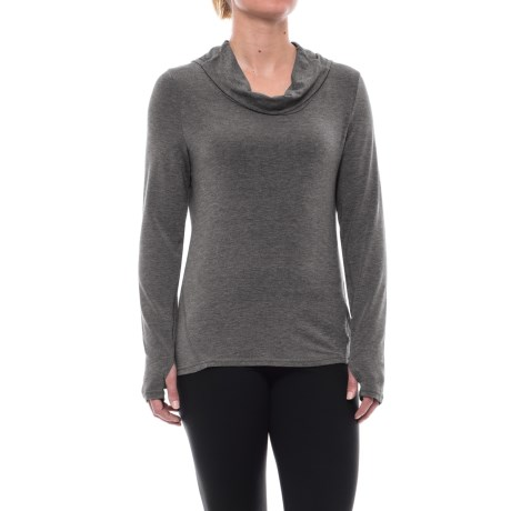 Apana Cowl Neck Hooded Shirt - Long Sleeve (For Women) in Charcoal Stripe