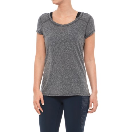 Apana Poly-Cotton Shirt - Short Sleeve (For Women) in Charcoal Grey Heather