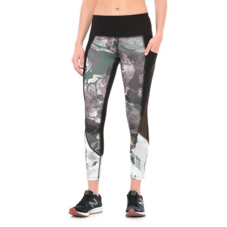 Apana Print and Mesh Cropped Leggings (For Women) in Rich Black/Dark Float Print