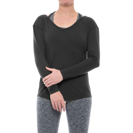 Apana Strappy Low-Back Shirt - Long Sleeve (For Women) in Rich Black
