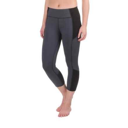 Apana Tight Yoga Capri Leggings (For Women) in Ebony Stripe/Rich Black Solid - Closeouts