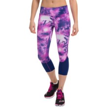 Apana Yoga Capris (For Women) in Bahamian Blue/Purple Cacus Combo Print/Bahamian Bl - Closeouts
