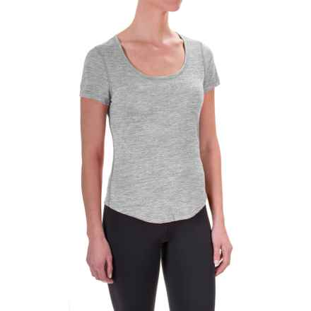 Apana Yoga Essential T-Shirt - Short Sleeve (For Women) in Light Grey Heather - Closeouts
