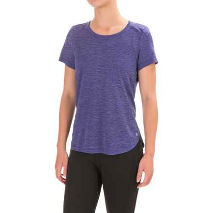 Apana Yoga Shirt - Scoop Neck, Short Sleeve (For Women) in Skipper Blue Heather/Skipper Blue - Closeouts
