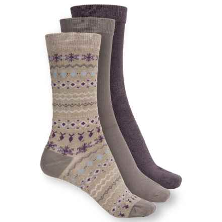 Apara Soft Casual Socks - 3-Pack, Crew (For Women) in Nordic - Closeouts