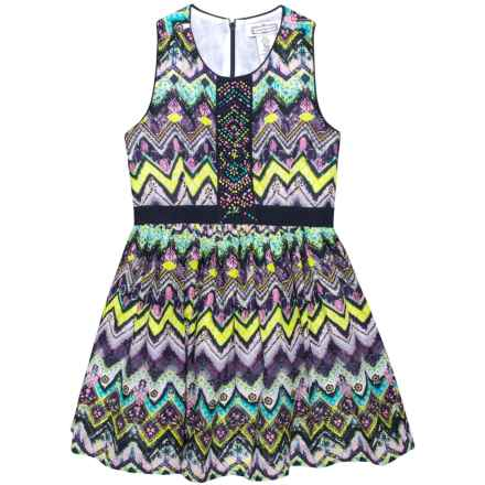 Aphorism Printed Dress with Beading Detail - Sleeveless (For Little and Big Girls) in Chevron Purple - Closeouts