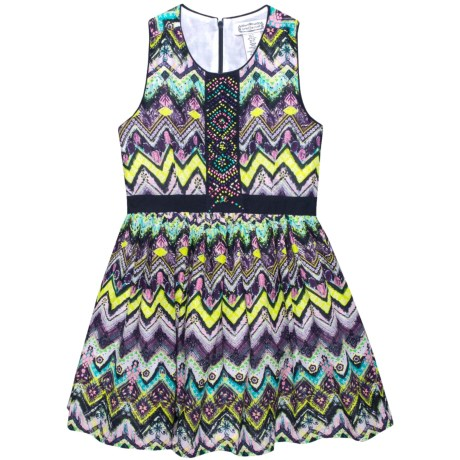 Aphorism Printed Dress with Beading Detail - Sleeveless (For Little and Big Girls) in Chevron Purple