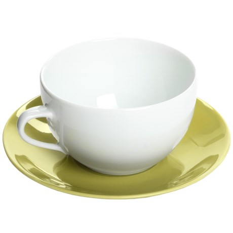 Apilco Colorama French Porcelain Coffee Cup and Saucer Set in Green
