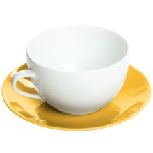 Apilco Colorama French Porcelain Coffee Cup and Saucer Set in Yellow - Closeouts