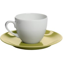 Apilco Colorama French Porcelain Espresso Cup and Saucer Set in Green - Closeouts