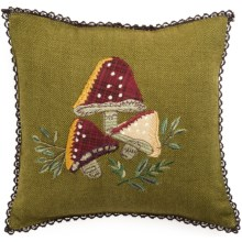 "April Cornell Mushroom Applique Pillow - Reversible, 10x10"" in Olive - Closeouts"