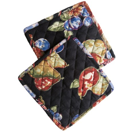 April Cornell Pot Holders - Set of 2 in Fall Fruit Black