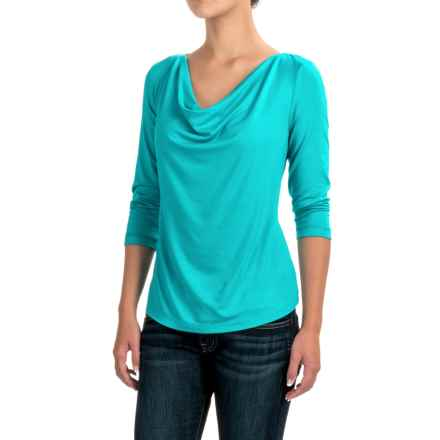 Apropos Camille Shirt - Modal, 3/4 Sleeve (For Women) in Turquoise - Closeouts