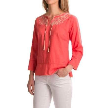 Apropos Embroidered Tamara Blouse - Long Sleeve (For Women) in Coral - Closeouts
