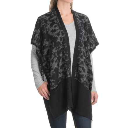 Apropos Mezzanine Cardigan Sweater - Open Front, Short Sleeve (For Women) in Black/Charcoal - Closeouts